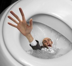 man drowning in toilet