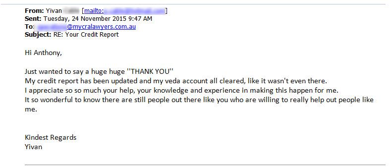 Yivan says thanks to MyCRA Lawyers