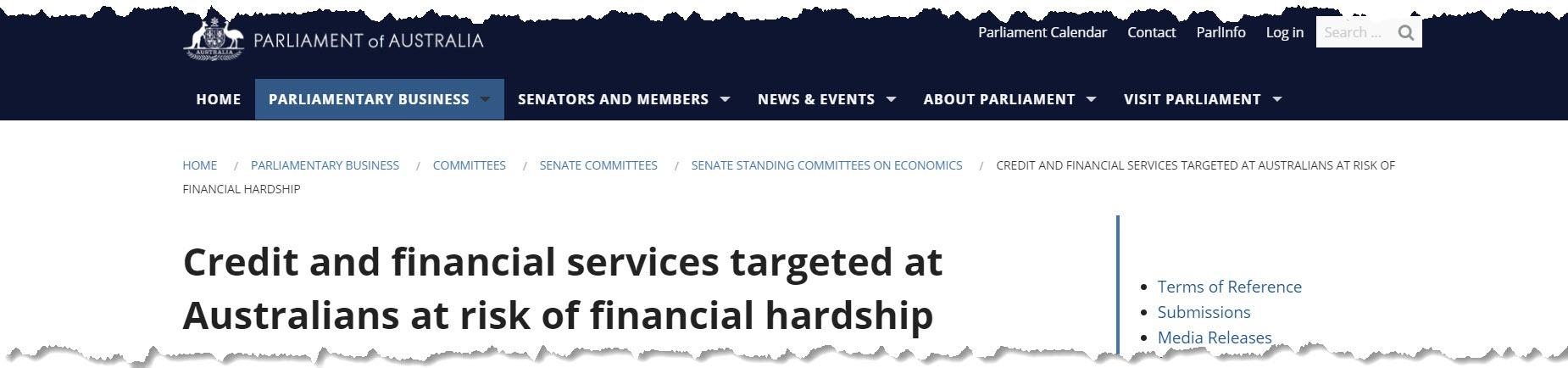Senate Enquiry into credit repair